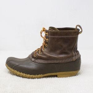 LL Bean Duck Ins Boots Dark Brown Leather Size 12